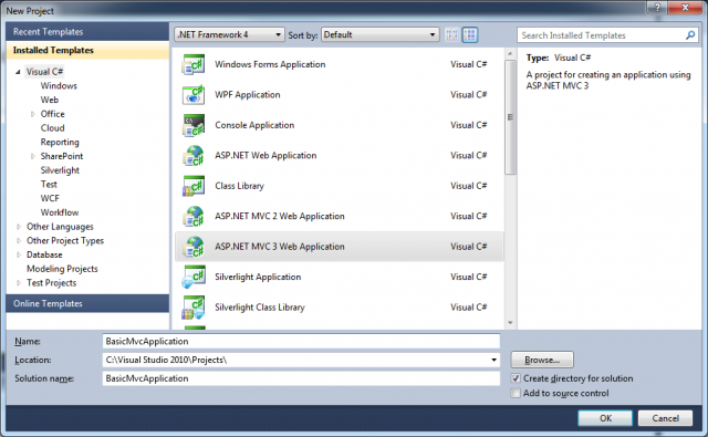 How to create a basic MVC 3 application with Visual Studio 2010