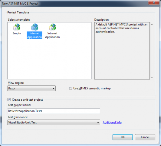 How to use mvc 3 dialog options with visual studio 2010 for Aspx net templates