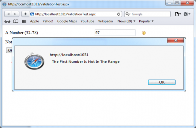 ValidationSummary control with message box window example