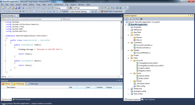 Visual Studio 2010 basic MVC3 application