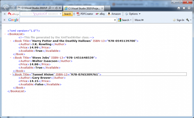 Opening of BooksList.xml in Internet Explorer in C#