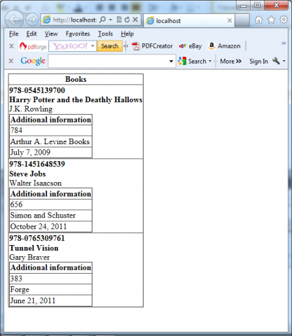 Showing XML with nested grids
