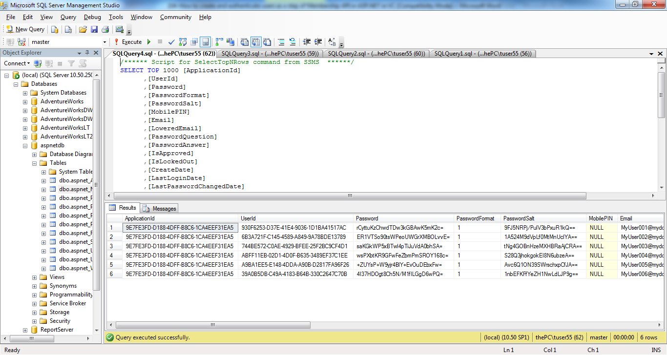 The aspnet_Membership table with the password-hash and salt values in VB.NET   Tutorial ...