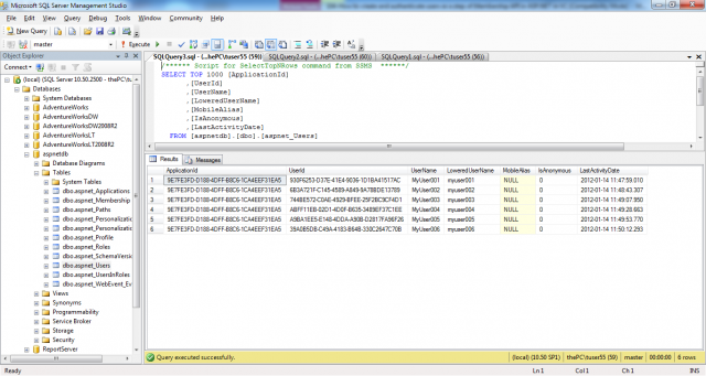 The aspnet_Users table in the membership database in VB.NET