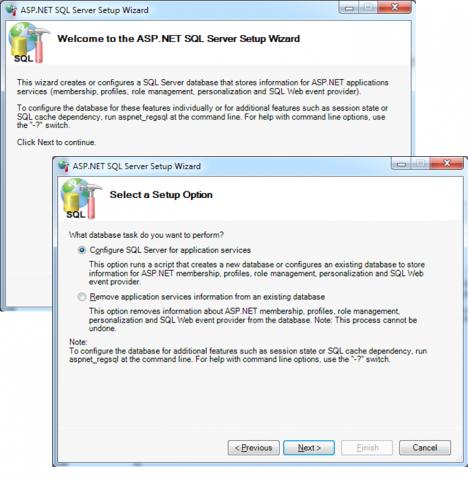 The apsnet_regsql.exe wizard user interface