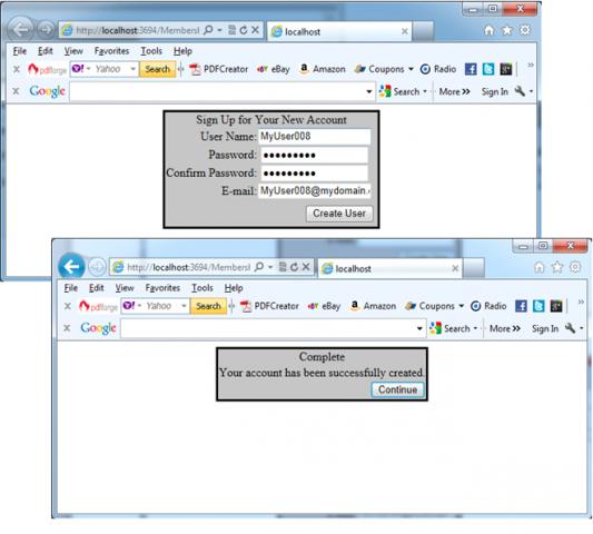 Membership API CreateUserWizard control in action