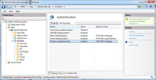 Authentication configuration feature of IIS 7.x
