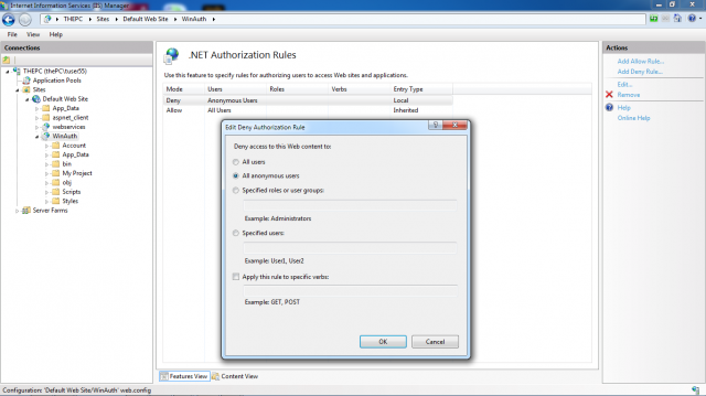 IIS authorization configuration for Windows authentication
