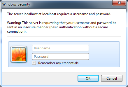 A login dialog box for Basic authentication