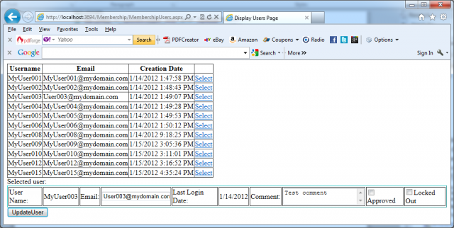 Updating of user in the membership store in C#