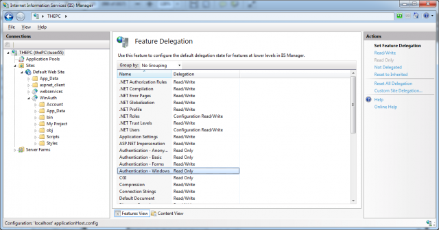 The IIS 7.x feature configuration for authentication modules