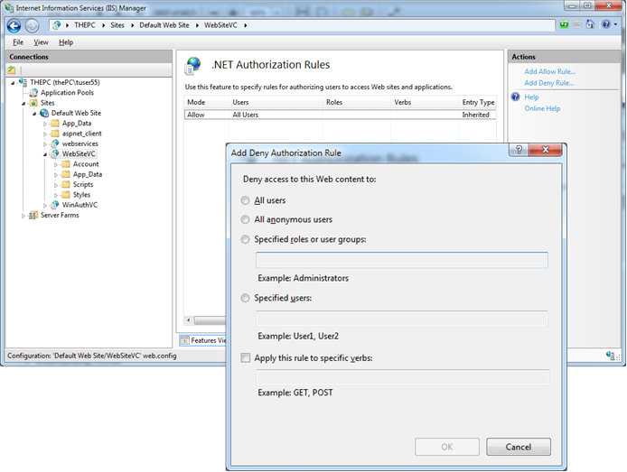 Configuring authorization rules in IIS 7.x