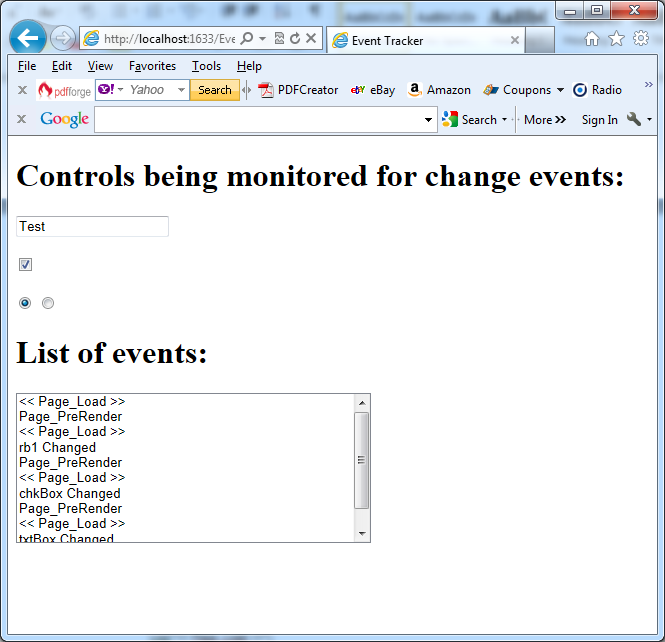 Event tracker in action in C#