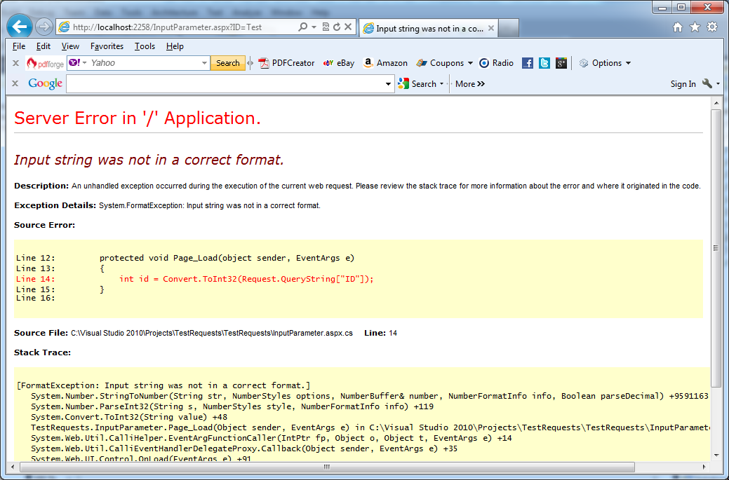 Disclosing of too many details about application if application's parameters are not checked correctly in C#