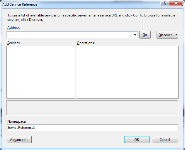 Add Service Refence dialog box