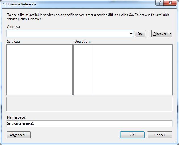 Add Service Refence dialog box