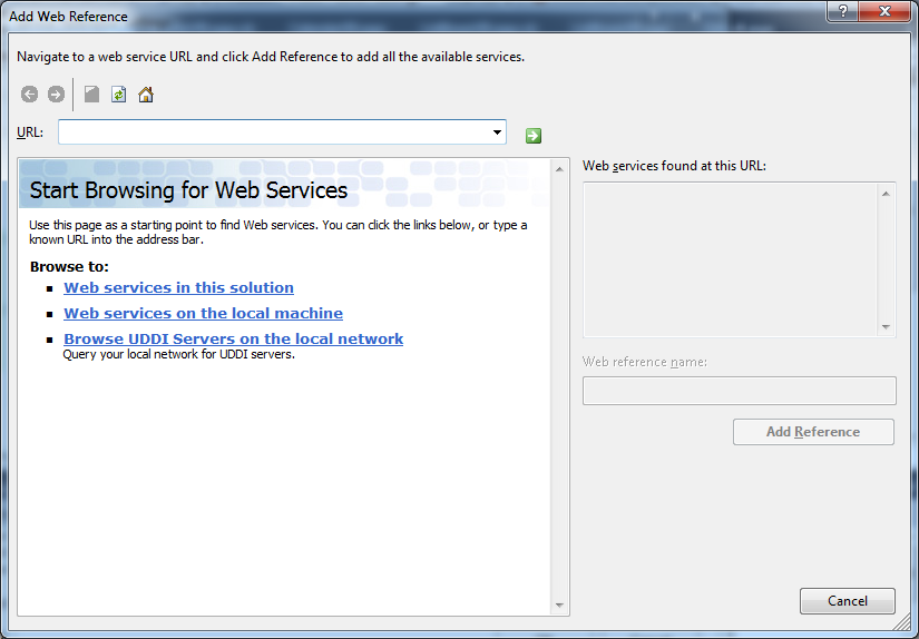 The Add Web Reference dialog box