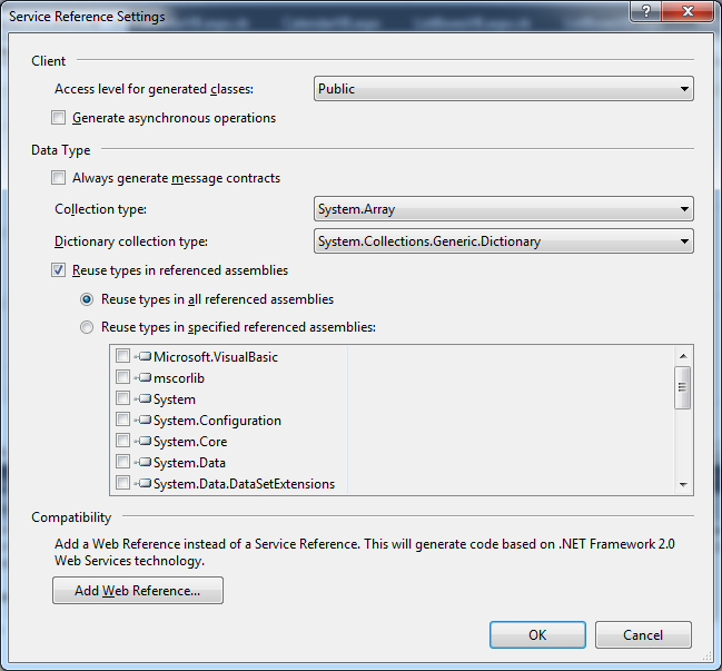 Service Reference Settings dialog box