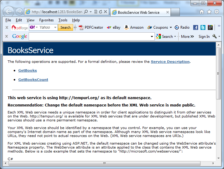 The web service test page