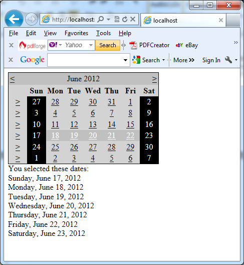 The Calendar control in action in C#