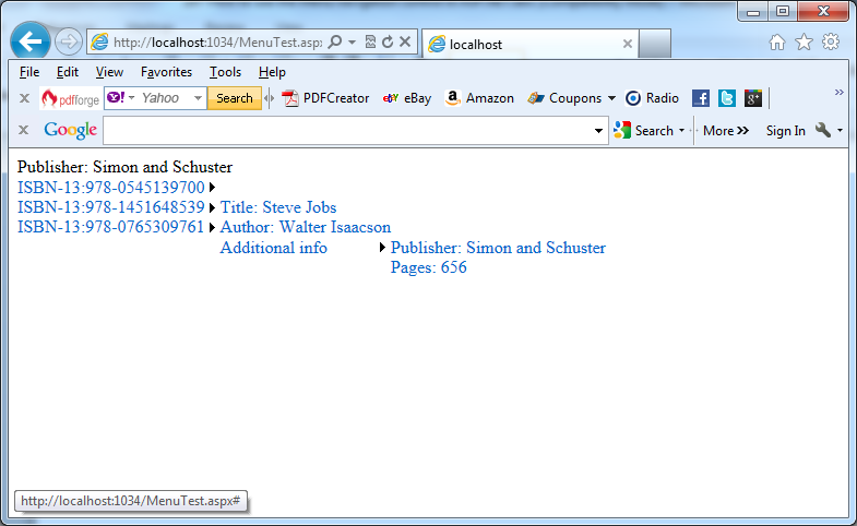 Displaying a menu with information from a XML file in C#
