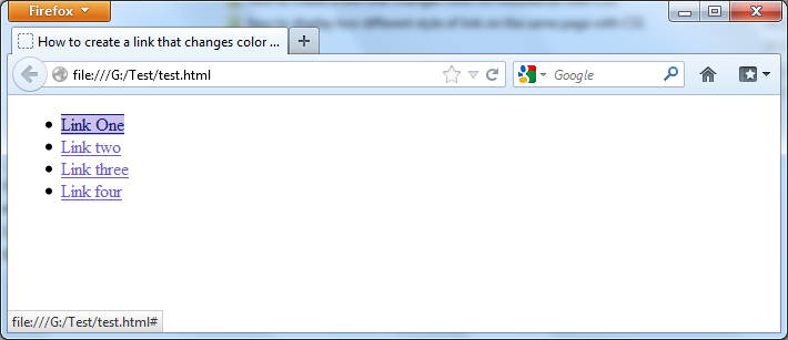 Changing of color on mouseover with CSS