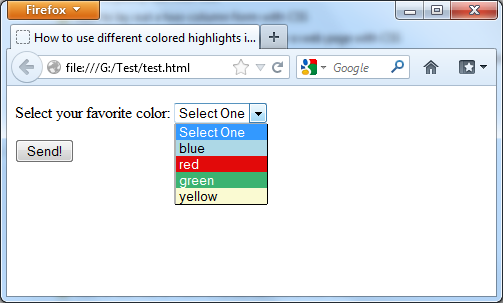 Using of different colored highlights in a select menu with CSS